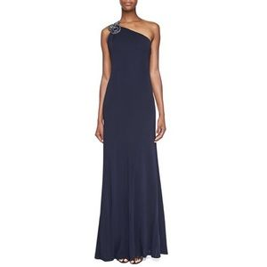 David Meister Beaded-One-Shoulder Gown in Navy